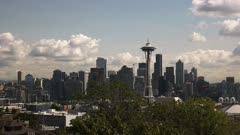 day time panning view of the space needle and seattle washington