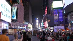 3 axis gimbal shot walking down times square in new york, usa at night
