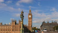 3 axis gimbal shot walking across a bridge towards big ben in london, england