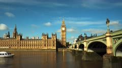 a time lapse of big ben and the english parliament houses in london, england