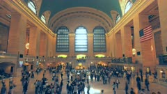 time lapse of the grand hall in grand central station in new york