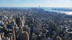 the view of lower manhatten from the observation deck of the empire state building in new york