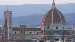 close up shot of the duomo in florence,  a famous cathedral designed by filippo brunelleschi