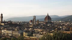 wide afternoon shot of the duomo and florence in italy from piazzale michelangelo