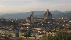 the duomo in florence from piazzale michelangelo, a famous cathedral designed by filippo brunelleschi