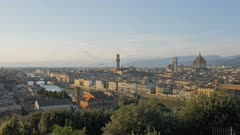 afternoon wide view of the duomo and ponte del vecchio in florence from piazzale michelangelo