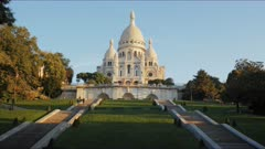 a  morning view of sacre coeur basilica, one of the most famous churches in paris
