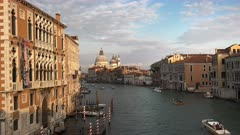 a wide view of basilica st mary and the grand canal in venice, italy