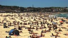 close up of summer crowds at bondi beach, australia's most famous beach