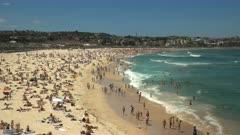 wide view of the famous bondi beach in sydney, australia