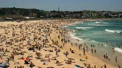 wide angle time lapse of bondi beach, australia's most famous beach