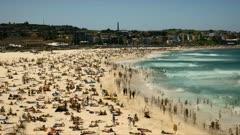 panning right time lapse of bondi beach, australia's most famous beach