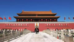 view of the gate of heavenly peace entrance to the forbidden city at tiananmen square, beijing