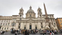 a view of sant'agnese in agone, also called sant'agnese in piazza navona, a 17th-century baroque church in rome, italy