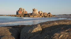 a close view of picnic rocks in the bay of fires region on the east coast of tasmania, australia
