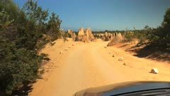 gimbal shot driving through nambung national park in western australia
