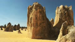 panning left shot of the pinnacles, unusual rock formations in nambung national park, western australia