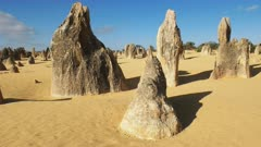 dolly shot of the pinnacles in nambung national park, western australia