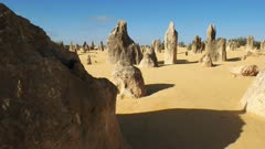 close up slider shot of the rock formations known as the pinnacles in western australia