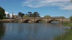 wide view of the historic sandstone bridge at ross, constructed by convict labour, and the third oldest bridge still in use in australia