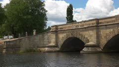 panning shot of the historic sandstone bridge at ross in tasmania, australia, constructed by convict labour, and the third oldest bridge still in use in australia
