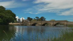 the historic sandstone bridge at ross in tasmania, australia, constructed by convict labour, and is the third oldest bridge still in use in australia