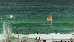 bondi beach swimmers and surf life saving flag close up
