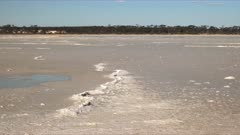 left to right panning shot of a salt pan formation near hyden, western australia