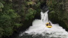 time lapse of a whitewater raft caught under tutea falls on the kaituna river, new zealand