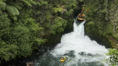 an inflatable raft is caught in new zealand's tutea falls on the north island of new zealand