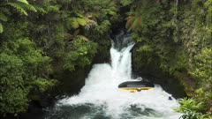 whitewater raft capsizing on the kaituna river of new zealand's north island