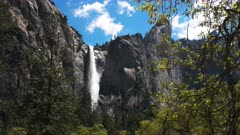 bridalveil falls during spring snow melt high water levels in yosemite national park, california