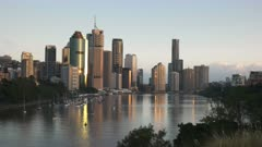 sunrise view from kangaroo point of the city of brisbane, the capital city of queensland, australia