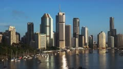 morning panning shot of brisbane, the capital of queensland in australia, from kangaroo point