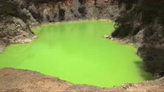 close up of  the unusual green thermal pool at waiotapu on the north island of new zealand