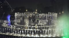 visitors to the park of the reserve inside the dream maze fountain in lima peru at night