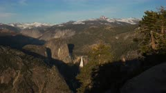 panning view of nevada falls and half dome in yosemite national park from glacier point