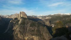 afternoon shot of half dome and vernal waterfall from glacier point in yosemite national park in california