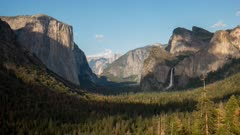 afternoon time lapse of bridalveil falls and half dome from tunnel view in yosemite national park