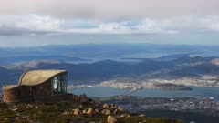 zoom in shot of hobart, the capital of tasmania, from mt wellington