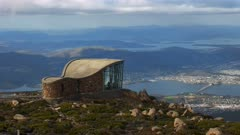 panning shot of hobart, the capital of tasmania, and storm bay from mt wellington