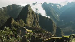 wild pink orchids and peru's famous lost inca city of machu picchu on a misty morning