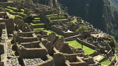 high angle  close up of the famous machu picchu ruins on a sunny morning