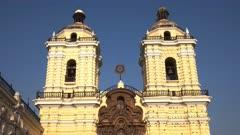 tilt down shot of the monastery san francisco in lima, peru