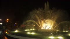 night time panning shot of the fountain of life in lima, peru