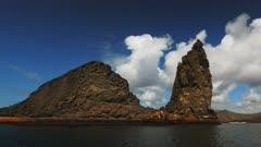 the view of pinnacle rock from a zodiac at isla bartolome in the galapagos islands, ecuador