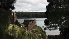 ruins of the notorious sarah island penal settlement in macquarie harbour, tasmania