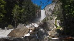 spring high water flow on vernal falls in yosemite national park, california