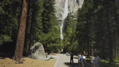 tilt up shot of yosemite falls in yosemite national park, california