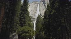 3 axis gimbal shot walking the trail to yosemite falls in yosemite national park, california